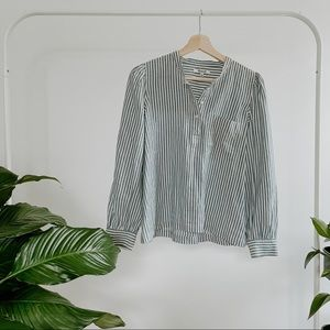 Madewell Blue + White Striped Button Down Top